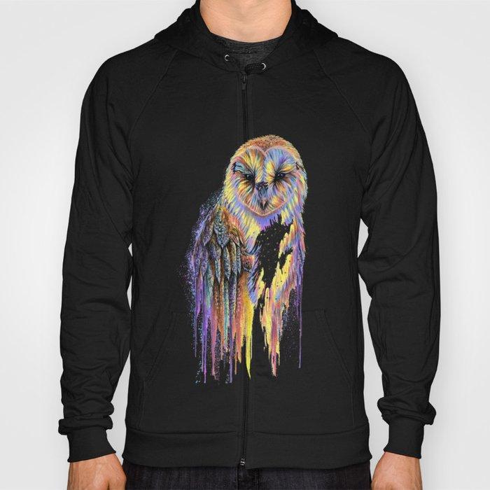Colorful Owl Dark Background Hoody