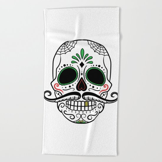 Day Dead Sugar Skull Beach Towel