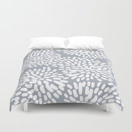 Grey and White Abstract Firework Flowers Duvet Cover