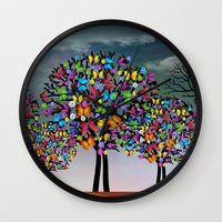 butterfly Wall Clocks featuring butterfly by mark ashkenazi