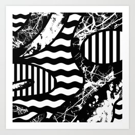 Curvy Contrast - Black and white stripes, waves, marble and paint splats abstract artwork Art Print
