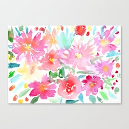 Blooming bouquet #2 || watercolor Canvas Print