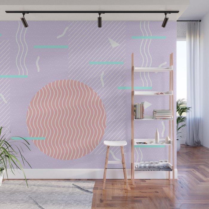 Memphis Summer Lavender Waves Wall Mural