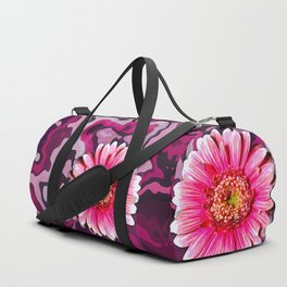 pink & purple abstract with painterly Gerbera flower Duffle Bag