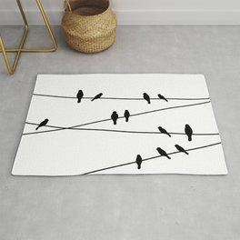 Birds on a line in Black Rug