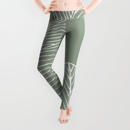 Line Drawing, Green, Palms Print, Boho Wall Art Leggings