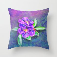 Abstract Lasiandra on textured kaleidoscope Throw Pillow