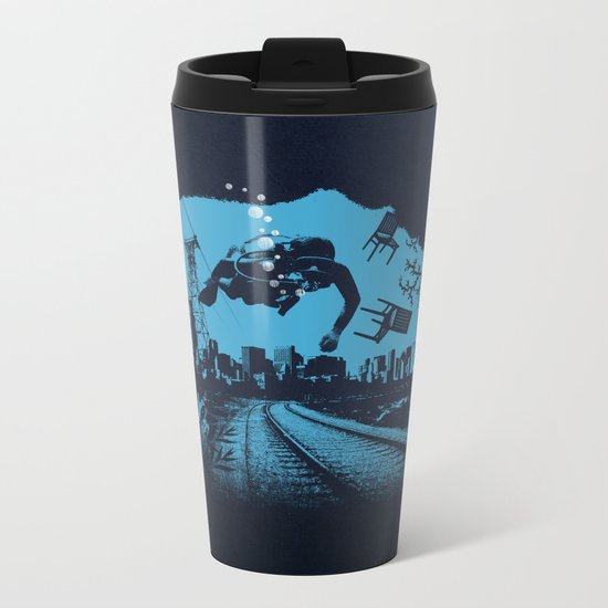 Deep blue Metal Travel Mug