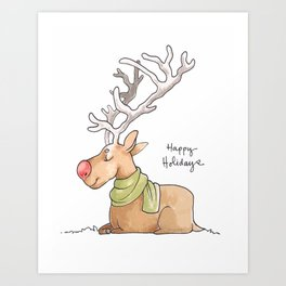 Holiday Card - Rosy Rudolph Art Print
