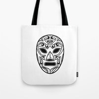 wrestling Tote Bags featuring Mexican Wrestling Mask by T-SIR   Oscar Postigo