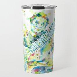 RAVI SHANKAR - watercolor portrait Travel Mug