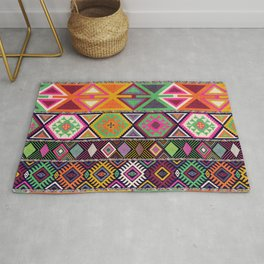 Aztec Artisan Tribal Bright Rug