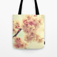cherry blossoms Tote Bags featuring cherry blossoms by Sylvia Cook Photography