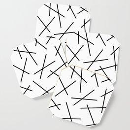 Black and white mikado stripes dash pattern Coaster