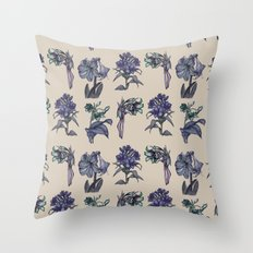 Botanical Florals | Vintage Blueberry Throw Pillow
