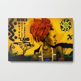 Motherland Africa, African American Female form masterpiece landscape painting Metal Print