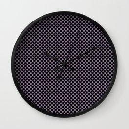 Black and Orchid Mist Polka Dots Wall Clock