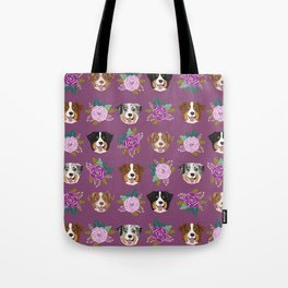 Australian Shepherd dog breed dog faces cute floral dog pattern Tote Bag
