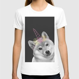 dog with unicorn and flowers T-shirt