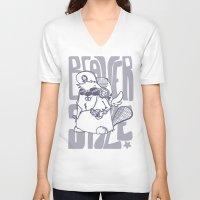 beaver V-neck T-shirts featuring Beaver' Style by Kiwii Illustration