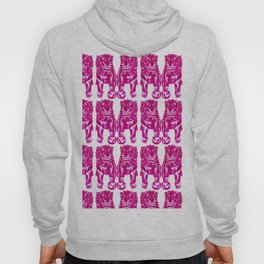 Chinese Guardian Lion Twins in Pink Peony Hoody