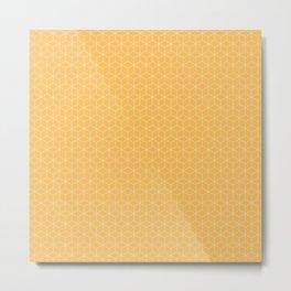 Sashiko stitching Yellow/Ochre/Ocher pattern Metal Print