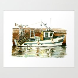 Honfleur - Pêche Traditionnelle Art Print