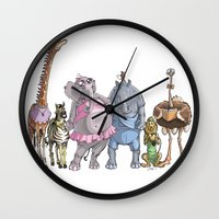 animal crew Wall Clocks featuring Animal Mural Crew by Michael Jared DiMotta Illustrations