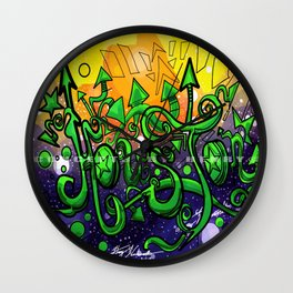 Houston_Lettering Design _Ink Illustration Concept Art:#010: Colored Version Wall Clock