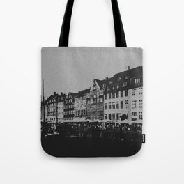 Copenhagen The Nyhavn Harbour Denmark Black and White Photography Tote Bag