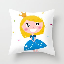 Happy smiling cute blond princess / Blue Throw Pillow