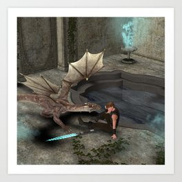 Dragon with his companion Art Print