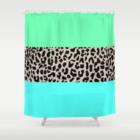 the national Shower Curtains featuring Leopard National Flag XIV by M Studio