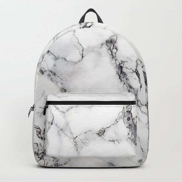 White Faux Marble Texture Rucksack