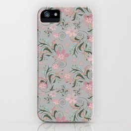 Retro . Pink flowers on grey background . iPhone Case