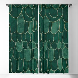Stratosphere Emerald // Abstract Green Flowing Gradient Gold Foil Cloud Lining Water Color Decor Blackout Curtain