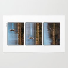 Gone Fishing Triptych White Rug