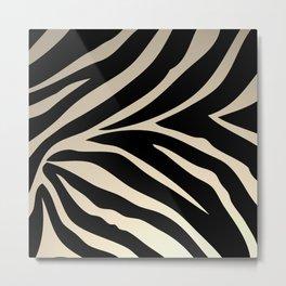 Zebra Stripes Beige Background Metal Print
