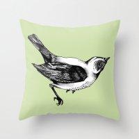 birdy Throw Pillows featuring Birdy by Aubree Eisenwinter