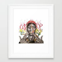 asap rocky Framed Art Prints featuring A$AP ROCKY by Liam Reading