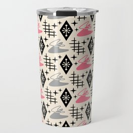 Mid Century Modern Boomerang Abstract Pattern Pink and Gray 161 Travel Mug