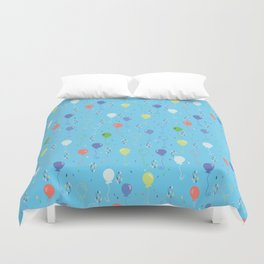 Bright Party Balloons Vector Pattern Duvet Cover