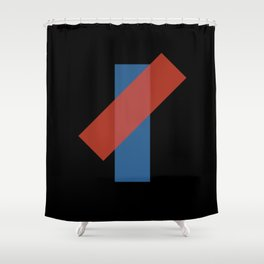 Red on Blue Semi-Transparent Abstract Art Piece Shower Curtain