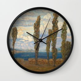 Landscape with lake and poplars by Hélène Funke Wall Clock