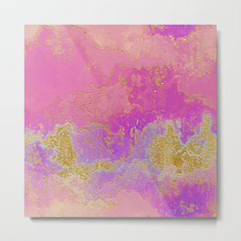 Pink, Purple and Gold Abstract Metal Print