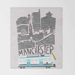 Manchester Cityscape Throw Blanket