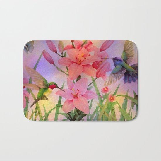 Painterly Hummingbirds And Flowers Bath Mat