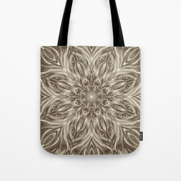 off white sepia swirl mandala Tote Bag