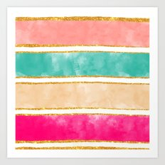 Modern Stripes Pink Red Watercolor Gold Glitter Art Print