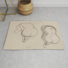 Gustav Klimt - Two Studies of a Seated Nude with Long Hair Rug